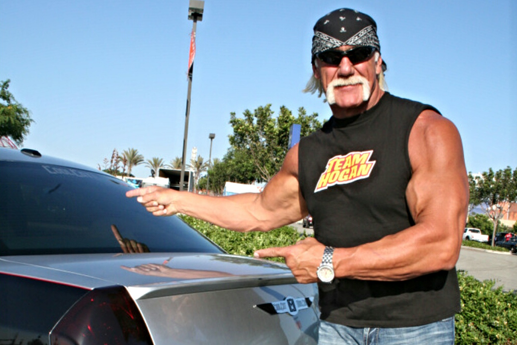 """Hulk Hogan posing with our project """"Ms. Sultry"""""""
